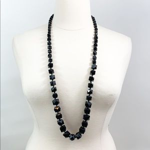 Long black Faceted bead necklace